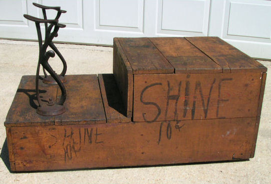 Antique Wood Iron Folk Art Shoe Shine Stand